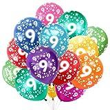 Globo Número 9, Cumpleaños Globos 9 Años, 9 Cumpleaños Decoración Globos Niño,Colores Globos Numeros 9 Fiesta Decoración para Feliz Cumpleaños,30 cm-Paquete de 30
