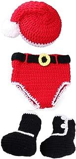 Bebé recién Nacido Crochet Hecho Punto Sombrero de Papá Noel Botas de pañales Traje Estilo navideño Disfraz Fotografía para bebé (0-4 Meses)