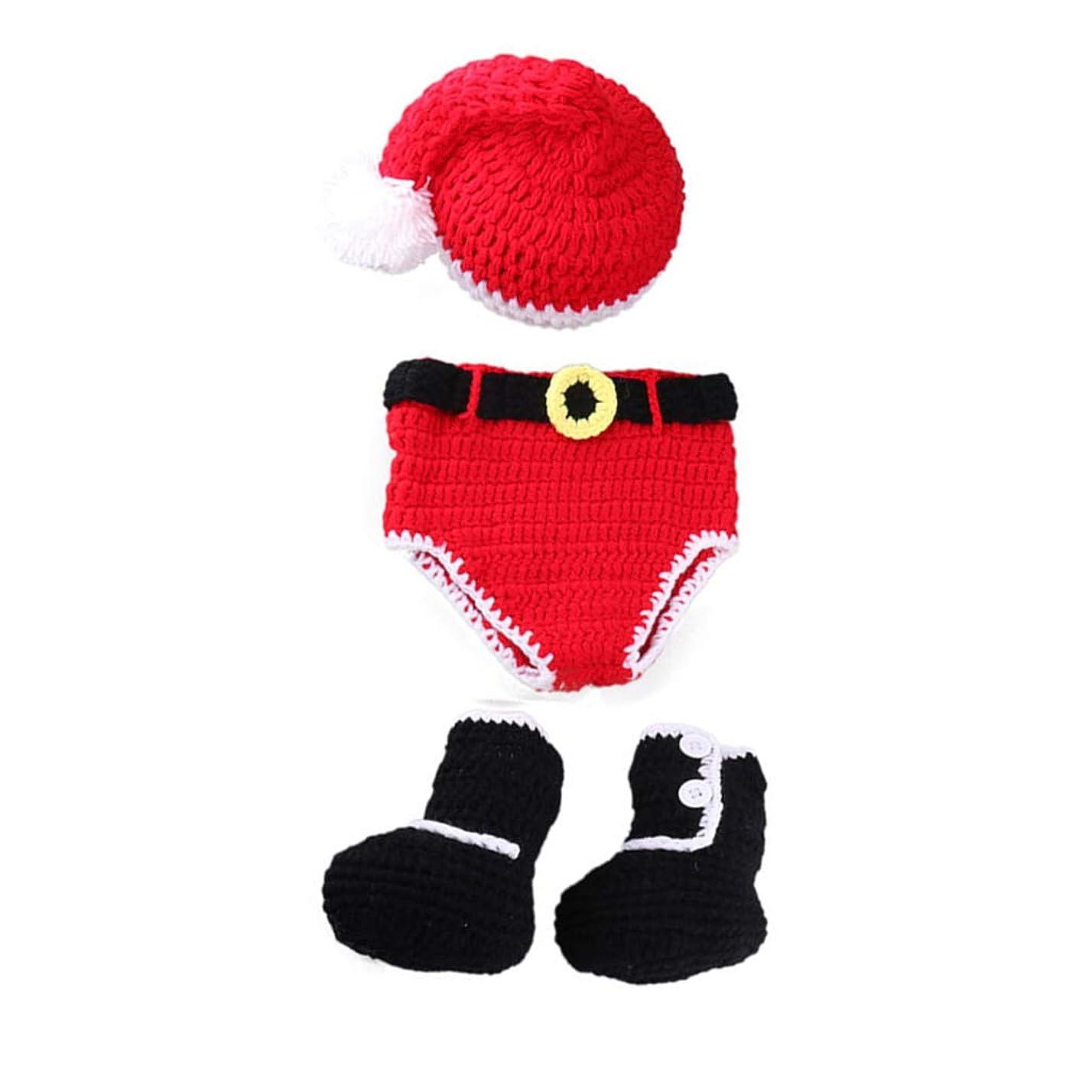 大騒ぎ思春期の直感1st market 生まれたばかりの赤ちゃんのかぎ針編みのサンタクロース帽子おむつブーツクリスマススタイルの衣装コスチューム写真プロップ用ベビー(0-4ヶ月)