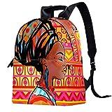 Mochila de piel para la escuela, universidad, viajes, oficina, portátil, para mujeres y hombres, arte africano étnico