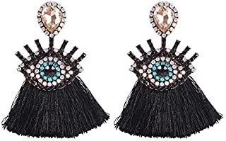 Solememo Bohemian Crystal Water Drop Stud with Rhinestones Eye and Lashes Fringed Tassel Statement Dangle Earring for Women