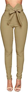 Womens Skinny Pencil Pants High Waisted Ankle Length Leggings with Button Embellish