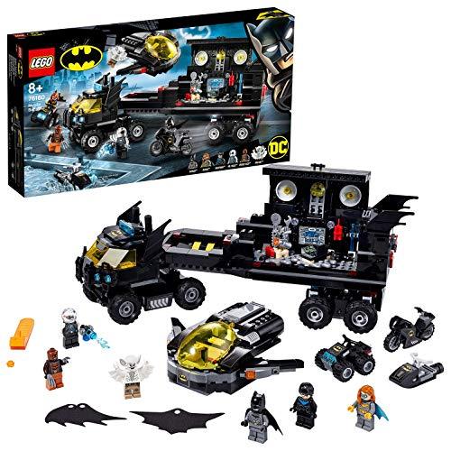 LEGO 76160 SuperHeroes BatbaseMóvil, Juguete de Construcción con Batcueva, Camión con Avión Jet, Quad, Moto y Moto Acuática