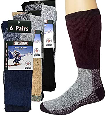 6 Pairs Merino Wool Winter Socks For Men and Women Athletic Socks Warm Thick Socks Debra Weitzner Assorted 9-11