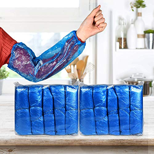 Desechables Mangas de Brazo, 200 piezas Mangas para los brazos de plástico,Desechables Mangas de Plástico Impermeable de Mangas de Limpieza para protección de braz