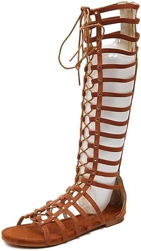 GHFJDO Femmes Sandales Chaussures Plates, Sangle d'été au Genou Taille Haute Bride à Bout Ouvert Sandales Gladiateur Romaines découpées Bottes Décontracté Plage Vacances,marron,39EU