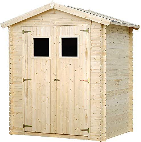 TIMBELA Holzhaus Gartenhaus M367+M367G - Gartenschuppen Holz mit Boden Imprägnierte B196xL136xH218 cm/ 1.98 m2 Lagerschuppen für Garten - Fahrrad Schuppen - Wasserfestes Dach