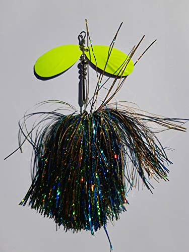 Bucktail Musky Pike Muskie Fishing Lure Spinner Bait 9' Long 1.6 Oz Indiana 9 Blades 5/0 Treble Hook (Blue