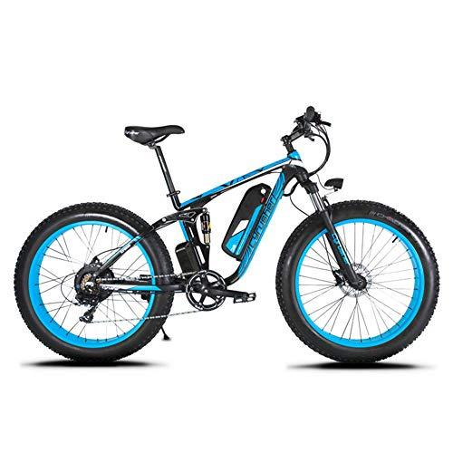 Cyrusher XF800 - Bicicleta eléctrica de 26 Pulgadas para Bicicleta eléctrica de montaña (1000 W, 48 V, 7 velocidades, Freno de Disco hidráulico), Azul