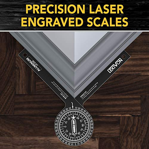 LEXIVON Aluminum Miter Saw Protractor   7-Inch Rust Proof Angle Finder Featuring Precision Laser Engraved Scales (LX-230)