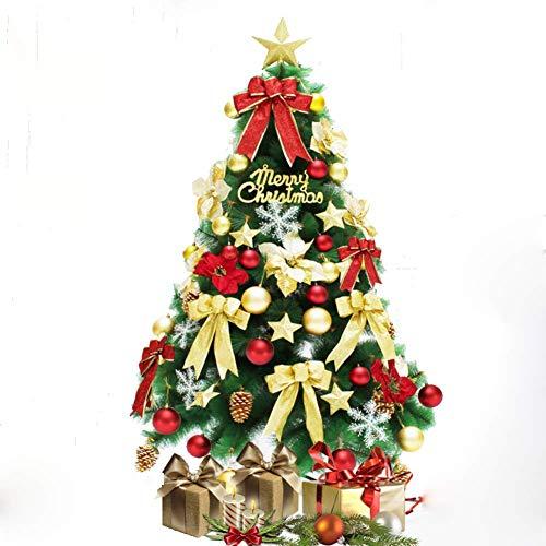 LIUSHI Árbol de Navidad Artificial, Pino de Navidad de Aguja de Pino Premium con Mini Luces Transparentes para el hogar, la Oficina, Las Tiendas y los hoteles: Oro + Rojo 150 cm
