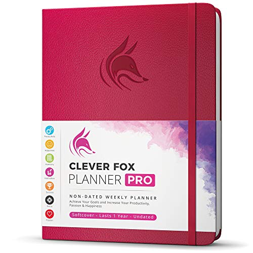 """Clever Fox Planner PRO - Weekly & Monthly Life Planner to Increase Productivity, Time Management and Hit Your Goals - Organizer, Gratitude Journal - Undated - 8.5 x 11"""" - Lasts 1 Year (Dark Pink)"""