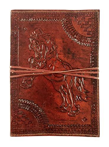 Kooly Zen - Cuaderno de notas, libro, álbumes, libro de invitados, libro de visitas, scrapbook, trepador, piel auténtica, caballo, 18 cm x 25 cm, 120 hojas, 240 páginas, papel premium