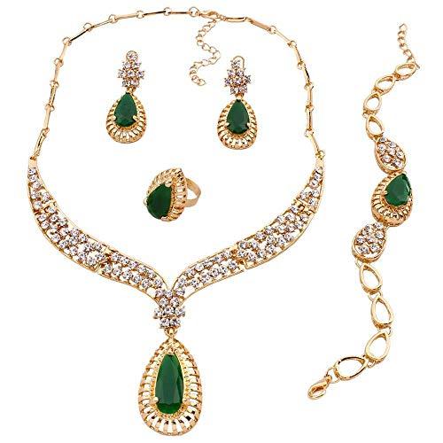 4-teiliges Schmuck-Set, Grün, Halskette, Armband, Ohrringe, Kristall, Ring Reinestone, Schmuck-Set