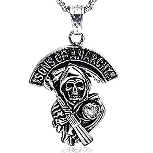 AllRing Sons of Pirate Skull Gun Collar con colgante de acero inoxidable para hombre en plata