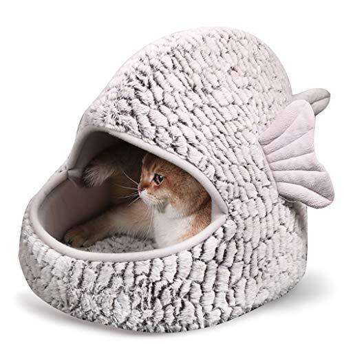 Höhlen & Häuser YCDJCS Cat Nest-Haustier-Bett-Cartoon-Fisch-Nest-Winter-Warmer Netzwerk Red Cat House Four Seasons Nationaler Closed-Katzen-Bett-Schlafsack Nest Großen Lint Nicht kollabieren