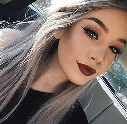 PINKSHOW Ombre Ash Grey Lace Front Wigs for Women Dark Root Hair Replacement Long Natural Straight Dusty Blue Synthetic Wig Heat Resistant 24 Inch Best Affordable Wig for Party