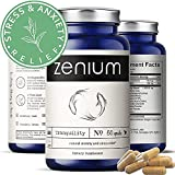 Zenium Stress Relief & Anti-Anxiety Supplement | Ashwagandha, L-Theanine, GABA, Valerian Root, 5HTP, Rhodiola Rosea, Lemon Balm |60 Capsules | Natural Calm Nootropic Item | Muscle Relaxer, Happy Pills