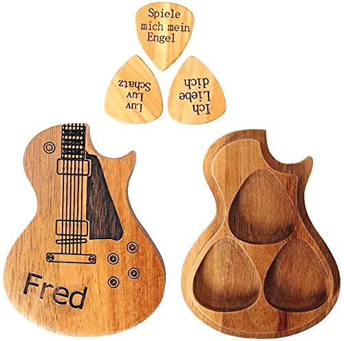 Dinikally Pickbox en bois personnalisé avec 3 médiators sculptés - Cadeau du guitariste d'amitié (sty1)