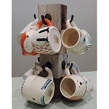 8 inch X 8 inch X 15 inch Farmhouse Reclaimed Wood Mug Tree for 8 Mugs