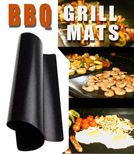 Chef Caron BBQ Grill Mat, Designed for The Professional 17' x 13' - Set of 2 Nonstick, Ultra-Slick, Extra Thick .25mm