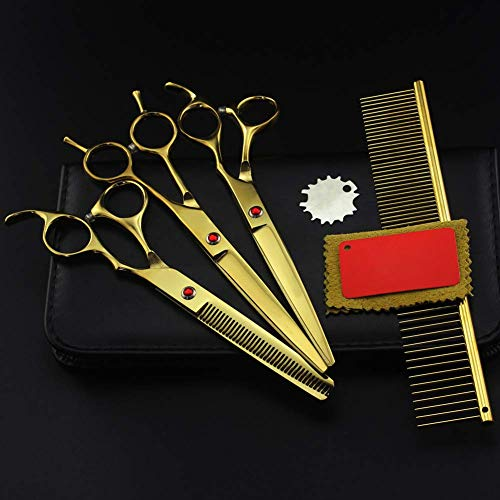 HJTLK Ciseaux de Coiffure, Pet Dog Grooming Curved Cut Hair Cisors, Thinning Barber Haircut Shears Professional Hairissing Scissors