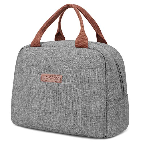 LOKASS Lunch Bag Cooler Bag Women Tote Bag Insulated Lunch Box Water-resistant Thermal Lunch Bag Soft Liner Lunch Bags for women/Picnic/Boating/Beach/Fishing/Work (Grey)