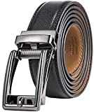 Mens Genuine Leather Ratchet Dress Belt with Open Linxx Buckle - Fissure - Deep Charcoal - Adjustable from 28' to 44' Waist