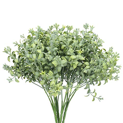 HUAESIN 4pcs Planta Artifiical Decorativa para Exterior Interior, Arbusto Plastico de Eucalipto Artificial Verde Rama Flor Artificial Resistente a UV para Hogar Jardinera Balcon Terraza Casa Jarron 🔥