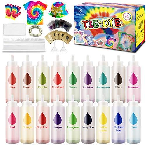 Oukzon Tie Dye Kit, 18 Farben Textilfarbe set für Erwachsene und Kinder Hemd Kleidung Malerei, DIY Basteln, mit 80 Gummibändern, Tischdecke, Handschuhe und Versiegelte Beutel und Trichter, Ungiftig