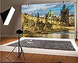Paisaje de 30 x 10 m de vinilo fotografía de fondo, Castillo de Puente de Carlos de Praga, famoso lugar turístico europeo, paisaje urbano de fondo para foto telón de fondo fondo fondo de pared