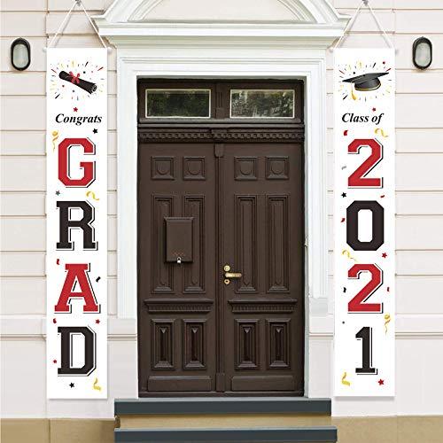 DecroXmas 2021 - Letrero de Graduación para puerta, Banderas Colgantes para fiestas de Graduación, Decoración de pared para Interiores y Exteriores, Color Negro y Dorado (Rojo y negro)