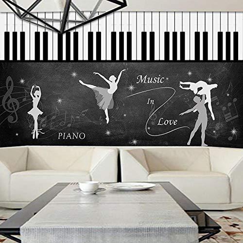 WWMJBH Behang zelfklevend 3D muziek danskamer piano muziek gitaar behang wandfoto wandposter 3D wandfoto foto foto kinderen jongen meisjes slaapkamer muur kunst ruimte woonkamer tv achtergrond behang 350x256 cm (BxH) 7 Streifen - selbstklebend