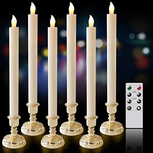 Eldnacele Flameless Window Candles with Remote Timer, Flickering Battery Operated Ivory LED Taper Candles Pack of 6, Real Wax with Gold Holders for Dinning Wedding Party Decoration