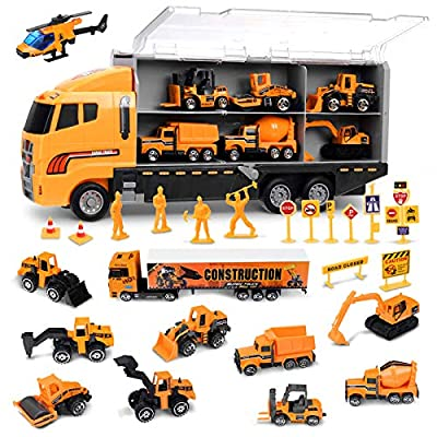FUNTOK Toddler Boy Toys, 25 in 1 Construction Truck Toys for Boys Age 4-7,Die-cast Construction Cars Toy Set Play Vehicle in Carrier Truck Gifts Cars Toddlers Toys for Children Kids from Chamnwii