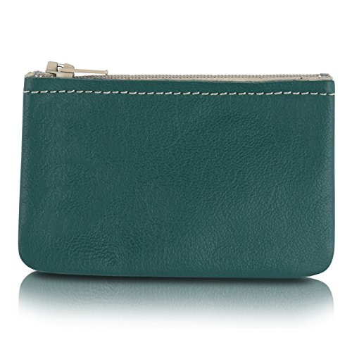 Zippered Coin Pouch, Change holder For Men/Woman made with Genuine Leather, Coin Purse, Pouch Size 4x2.5 inches, By Nabob leather (Teal)