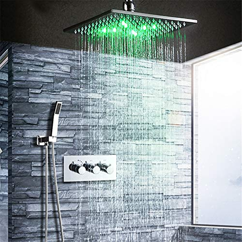 HNBMC - Juego de Grifo termostático de Ducha con Cabezal de Ducha LED de 10 Pulgadas, Grifo de Ducha de Lluvia, Caja de Montaje en Pared, Cromado