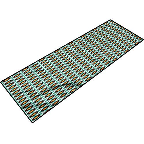 Abstract Outside Floor Rug Grunge Stars with Zig Zag Microfiber Mat Carpets for Bathroom Shower 18x47 Inch