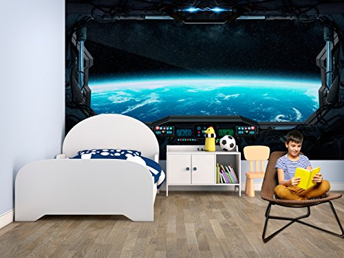 Fotomural Vinilo Pared Infantil Futurista Ventana Espacial | Fotomurales pared | Fotomural Decorativo | Vinilo Decorativo | Varias Medidas 200 x 150 cm | Decoración comedores salones | Diseño Elegante