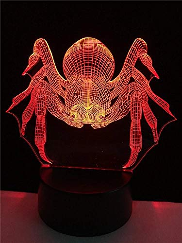 Spider 3D Illusion Night Light USB RGB Colors Change Touch Table Desk Bedroom LED Lamp for Girls Lover's Gift amp; Home Decoration
