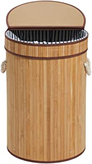 HanShoo Bamboo Laundry Hamper Laundry Basket with Lid 100L Dirty Clothes Storage Baskets Foldable Round(XL)