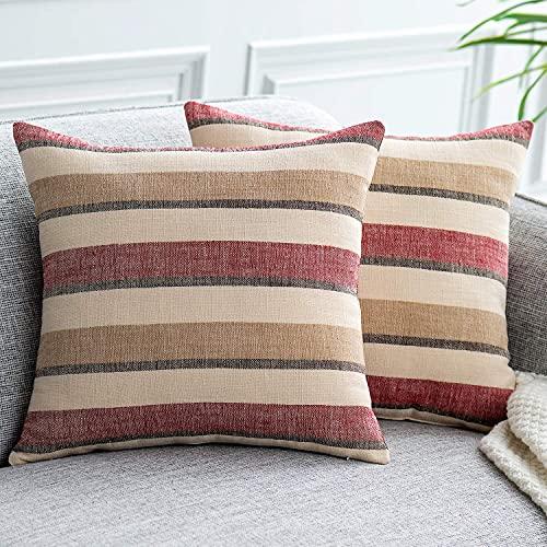 UPOPO Juego de 2 fundas de cojín con aspecto de lino, con cremallera, 60 x 60 cm, color rojo