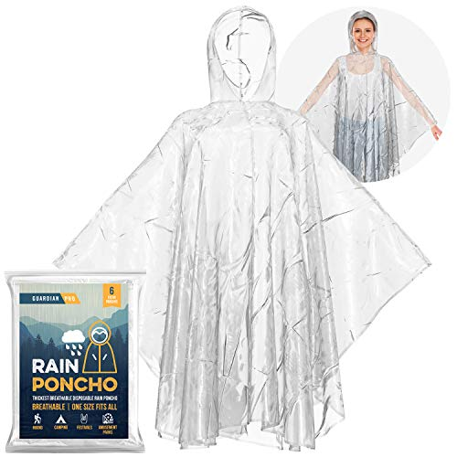 Packable Rain Poncho Family Pack (6 Slickers) Clear Plastic Travel Jacket with Hood for Adults & Kids, Women & Men, Plus Size & Long, Waterproof Disposable Rain Slickers & Lightweight Raincoat Hooded