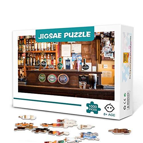Irish pub bottiglia di whisky tap beer 1000 pezzi puzzle puzzle per bambini adulti gioco famiglia in legno antistress sfida difficile puzzle per bambini adulti 75x50 cm