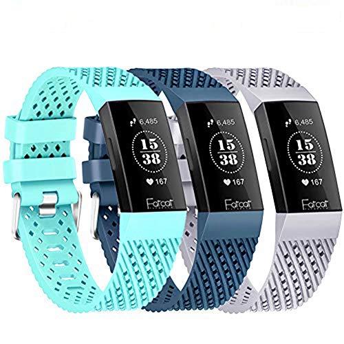 FatcatBand Correa para Fitbit Charge 3, Transpirable con Orificios de ventilación Silicona Suave Deporte Recambio de Pulseras Ajustable Reemplazo Accesorios para Fitbit Charge 3