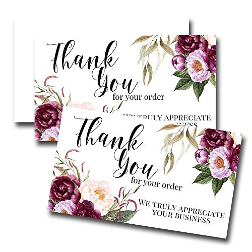 """Purple Peony Floral Thank You Customer Appreciation Package Inserts for Small Businesses, 100 2' X 3.5"""" Single Sided Insert Cards by AmandaCreation"""
