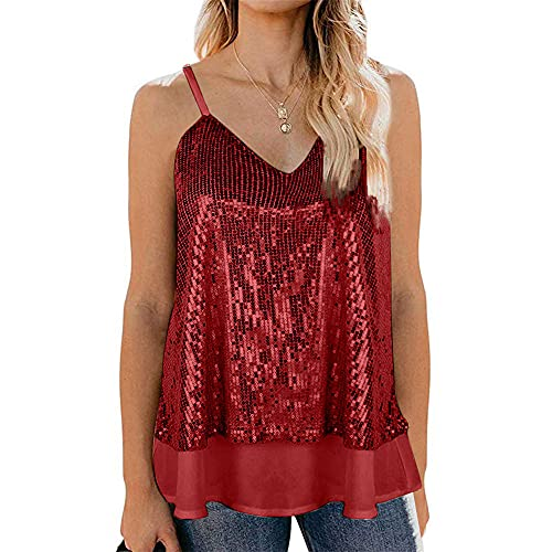 Women Vest Elegant Fashionable Solid Color Summer V Neck Sleeveless Women T-Shirt Chic Unique Sequin Design Party Night Club Sexy Women Tops D-Red M