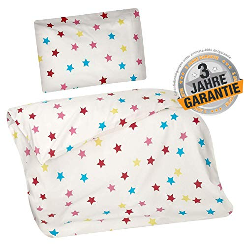 Aminata Kids Bettwäsche 100x135 Sterne Junge Mädchen Kinder Baumwolle weiß mit bunten Sternen - Stern-Motiv mit Reißverschluss - Baby-Kinder-Bettwäsche-Set Kinderbettwäsche rot, gelb blau, rosa
