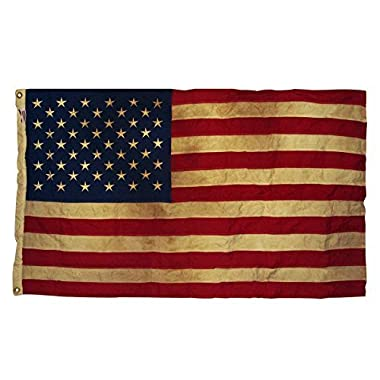 Valley Forge, American Flag, Cotton, 3' x 5', 100% Made in USA, Heritage Series, Antiqued Colonial 50-Star US American Flag