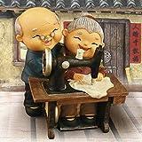 Homyl Chinesische Alter Mann und Frau Ehepaar Figur Skulptur Deko Figuren, mehrerer Lebensszene – 07 Nähen - 6